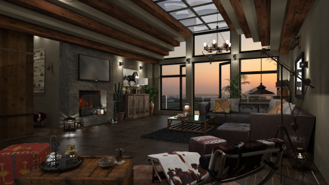 American Western - Country - Living room - by evahassing