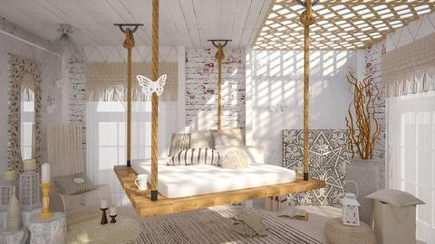 White Butterflies - Vintage - Bedroom - by ArcticMoon