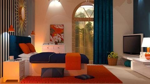 Orange Blue - Bedroom - by DeborahArmelin