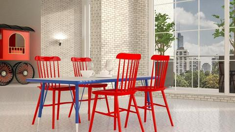 Red_Chairs - Dining room - by ZuzanaDesign