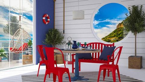 Red and Blue - Dining room - by jagwas