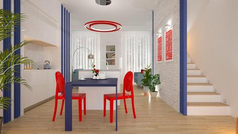 Red Chairs Blue Table - Dining room - by Valkhan