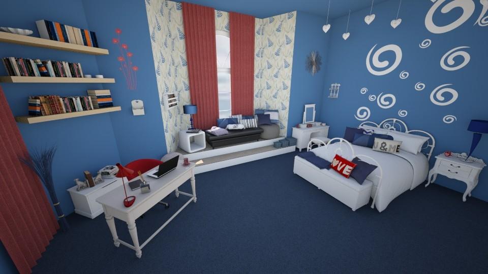 Blue Bedroom - Bedroom - by KrisTina94