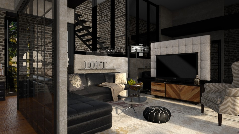 black brick - Modern - Living room - by jjannnii