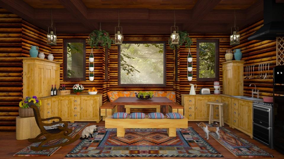 Log Cabin Kitchen - Kitchen - by lydiaenderlebell