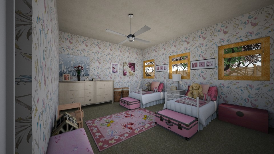 twin girl bedroom - Bedroom - by scourgethekid