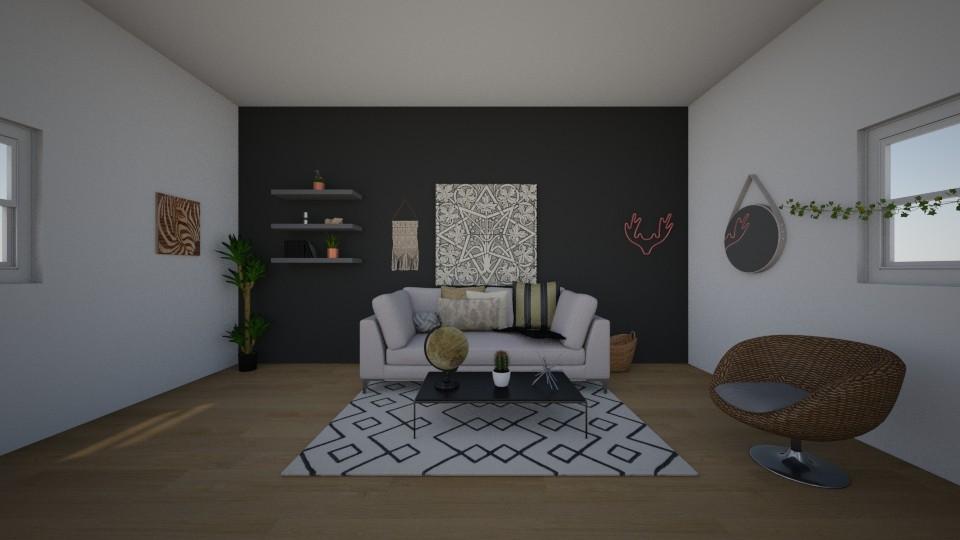 boho living room - Living room - by kaleighsksk