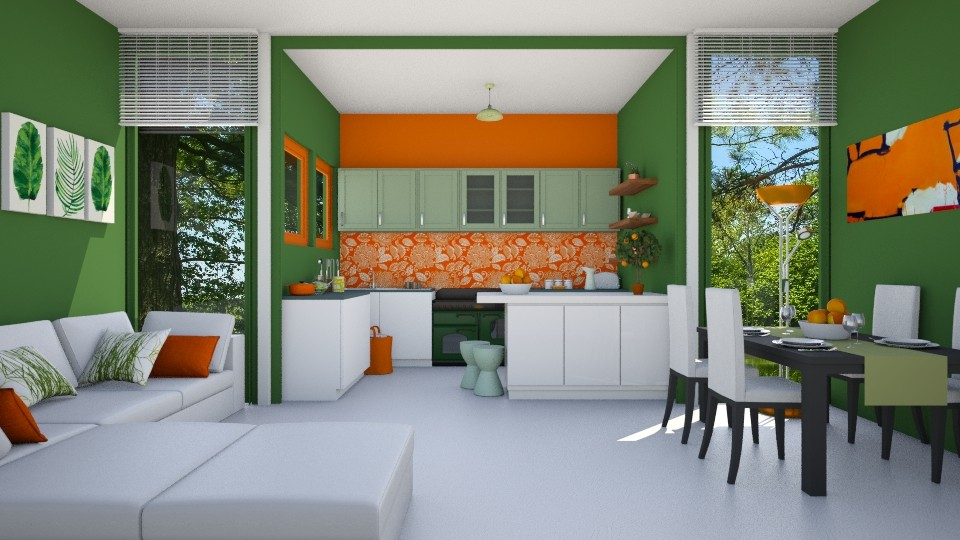 Orange grass - Kitchen - by agapka