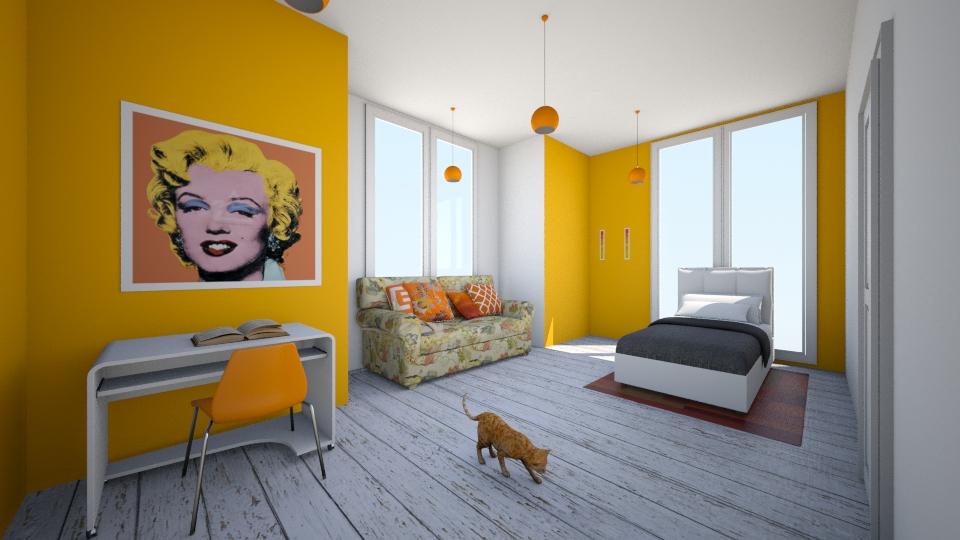 Orange Bedroom - Bedroom - by Sunny Bunny