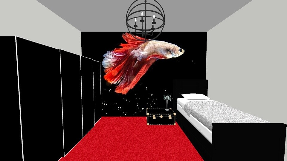 Red fish bedroom - Bedroom - by khayla simpson