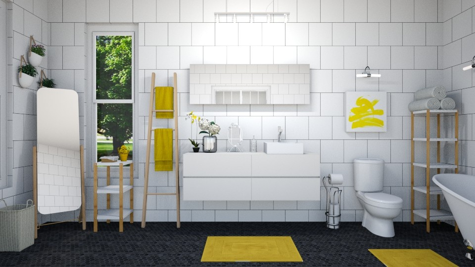 mellow yellow bathroom - by IsabelRule