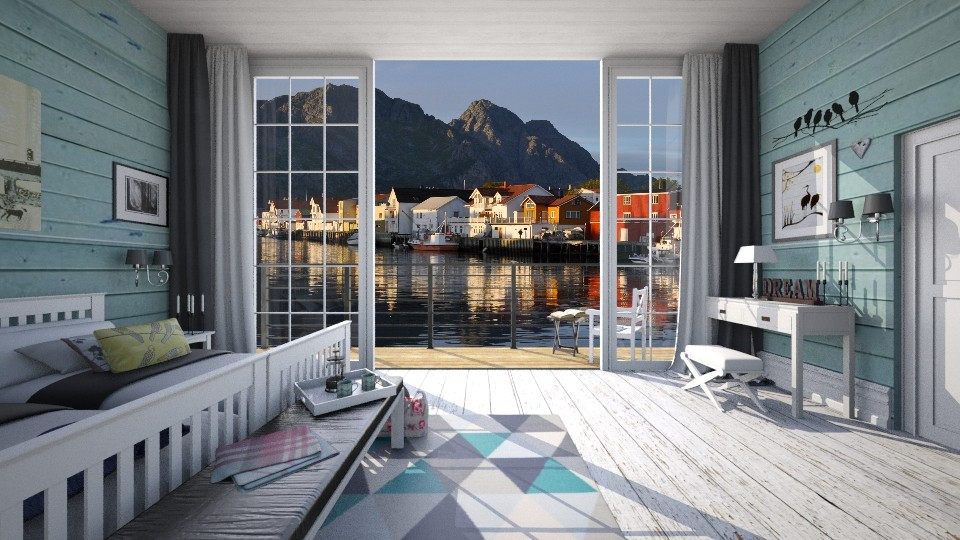 Lofoten Islands Fjord Hotel - Bedroom - by margesimpson2000
