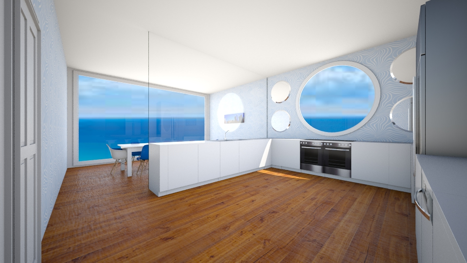 Blue Kitchen with Glass - Modern - Kitchen - by P_C
