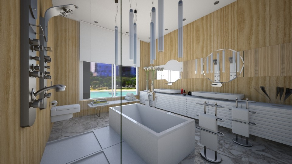 wood marble - Bathroom - by Talles Paganotti