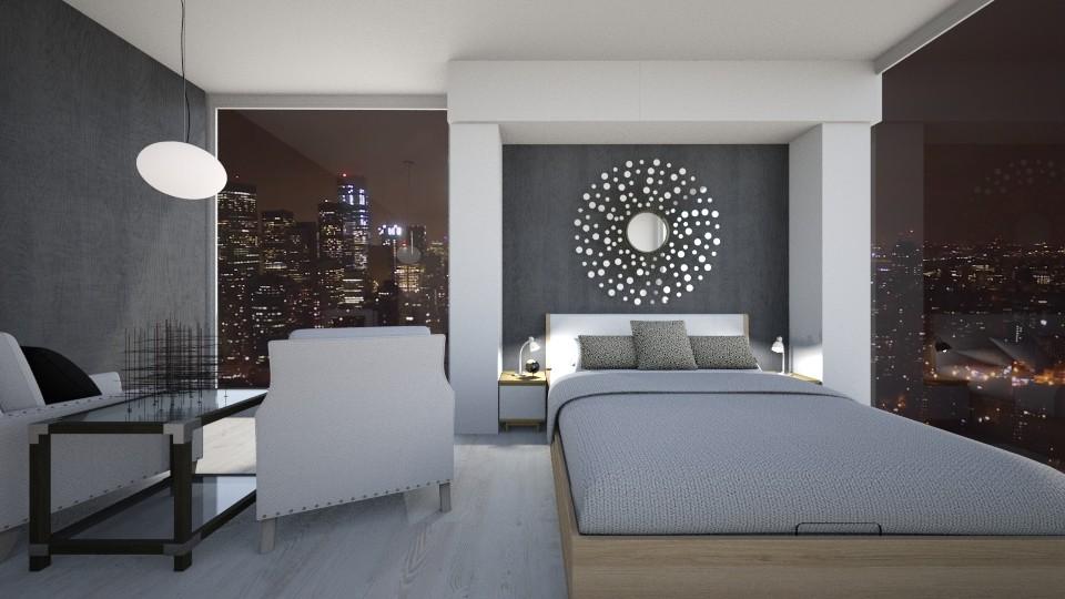 Black and White New York2 - Bedroom - by GinnyGranger394