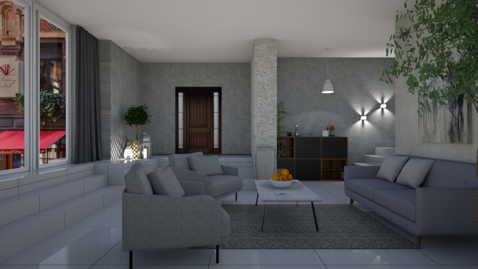 Grey living - Living room - by jarkaD