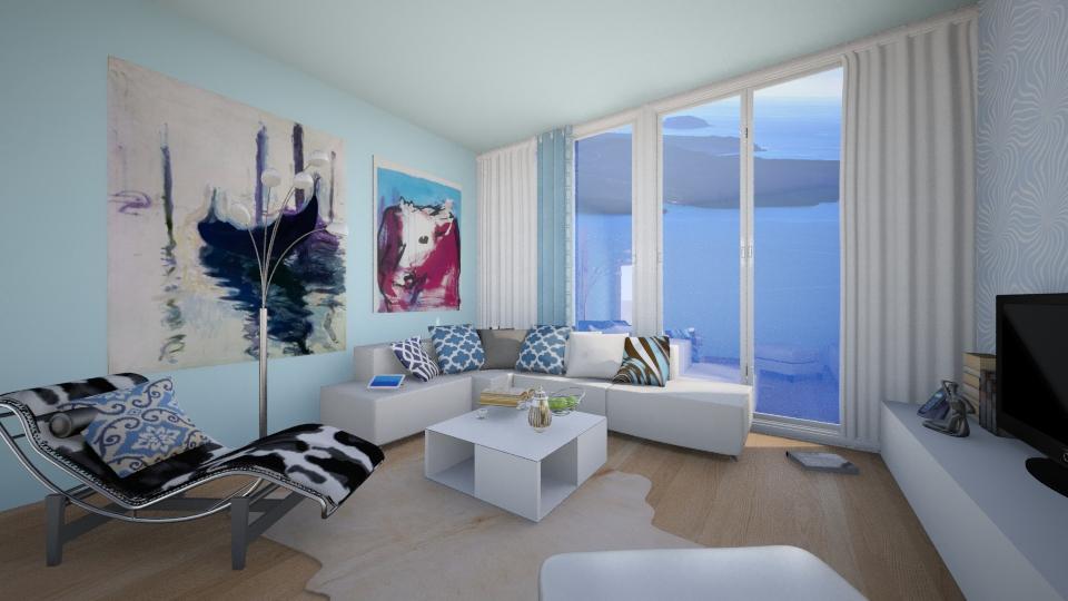 Santorini - Living room - by nellica