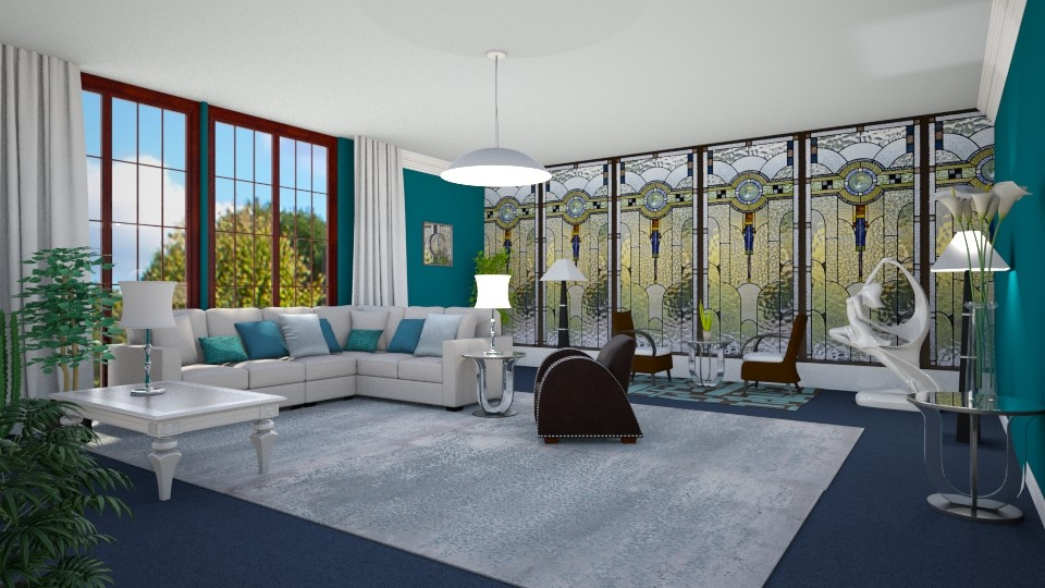 Blue Deco - Living room - by KarmaKitten