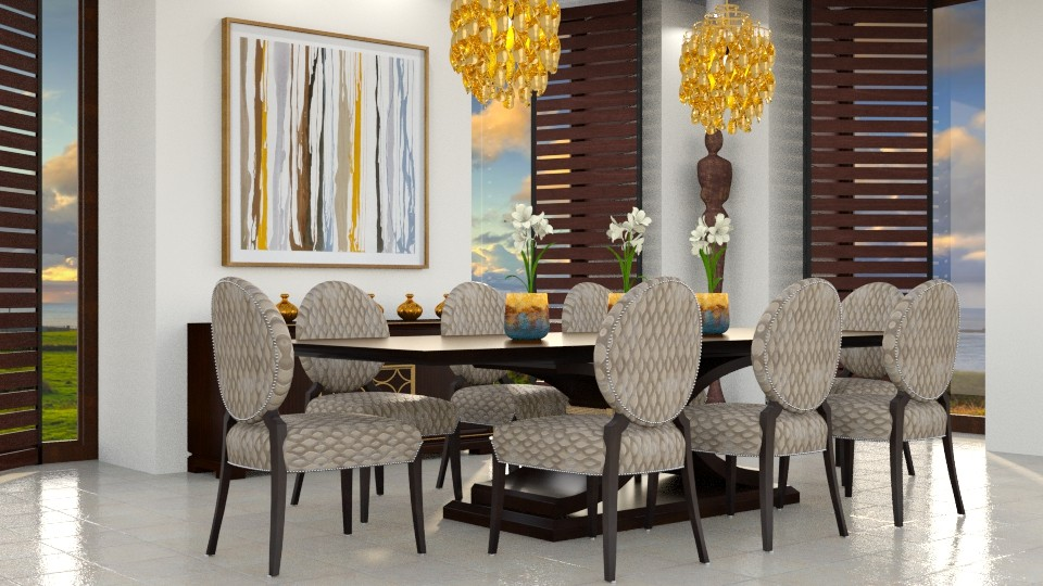 A Golden View - Dining room - by GraceKathryn
