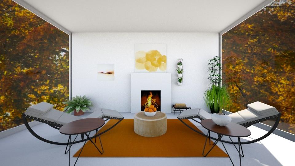 Orange Living Room - Living room - by CatsFurLife