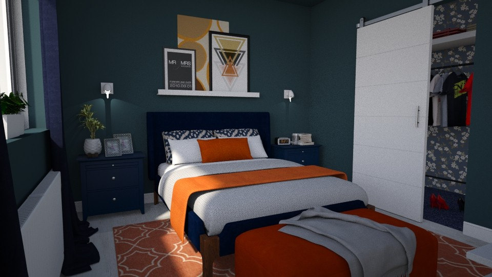 Blue Orange Bedroom - Modern - by meggle
