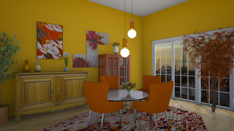 orange dinning room - by kla