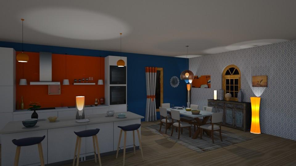 orange and blue - Kitchen - by jdenae3
