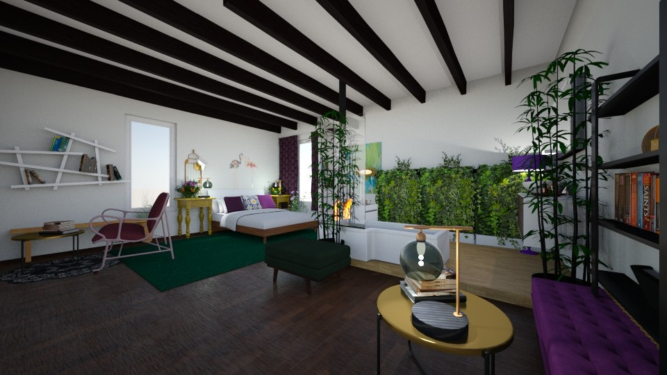 purple and green bedroom - by fwhitef