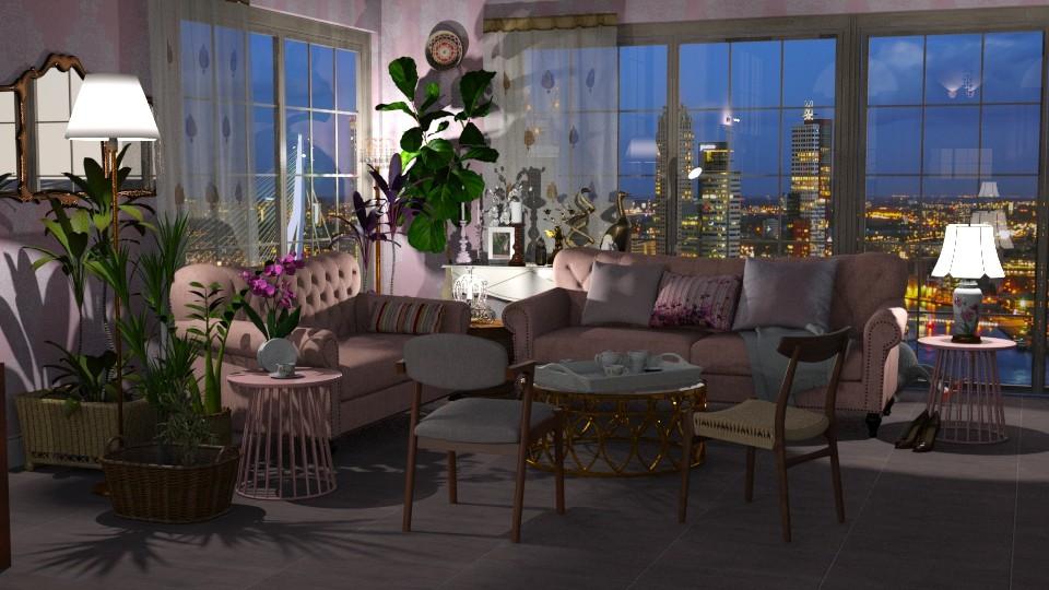 Jaya PinkCopper Panorama - Feminine - Living room - by anchajaya