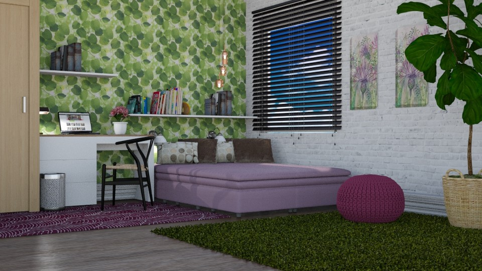 Purple and Green Bedroom - by sirtsu