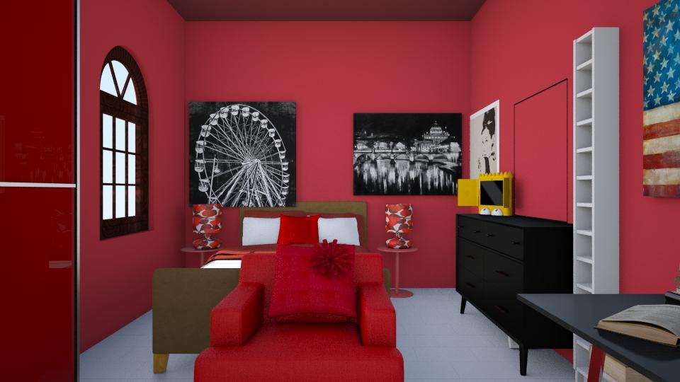 Red bedroom - Feminine - Bedroom - by Zaphire