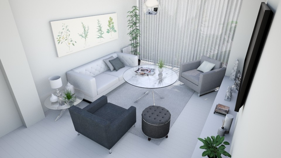 White and grey - Modern - Living room - by AnaCatarina