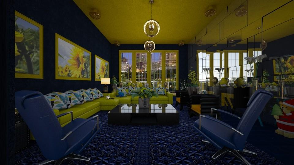 Azul e Amarelo - Living room - by Maria Helena_215