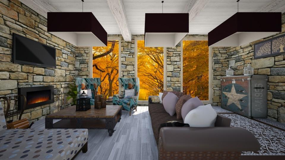 grey living - Living room - by Alejandra Urq
