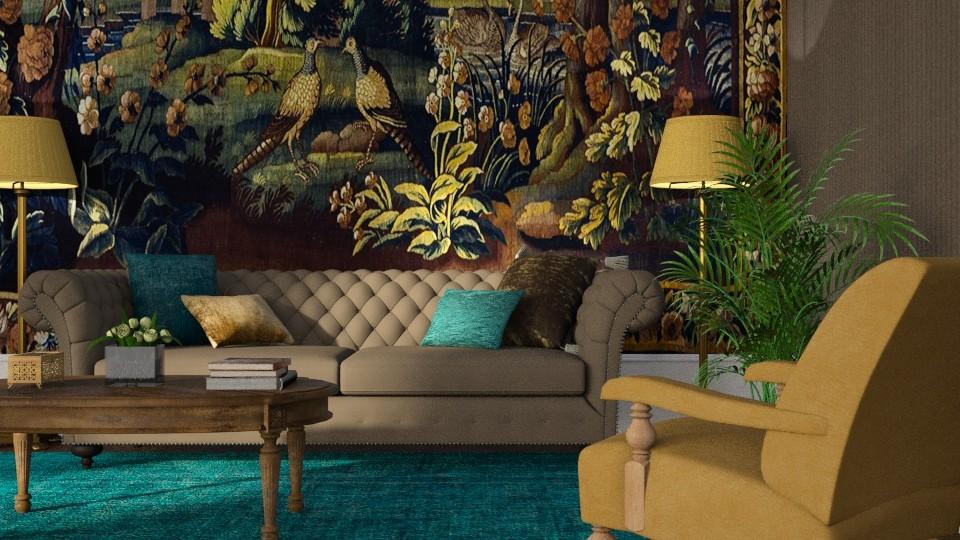 Tapestry and Velvet - Living room - by GraceKathryn