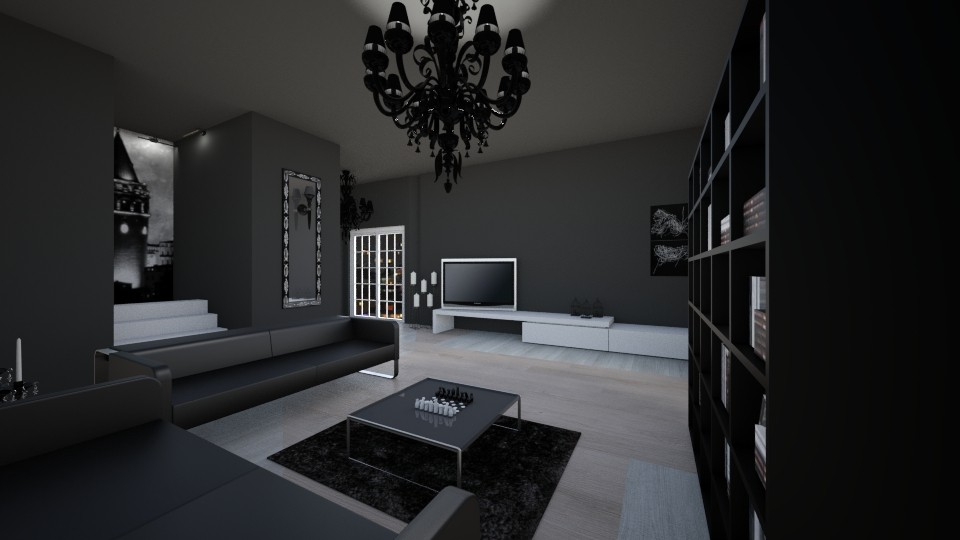 Black and White  - Living room - by 20fatmaa_