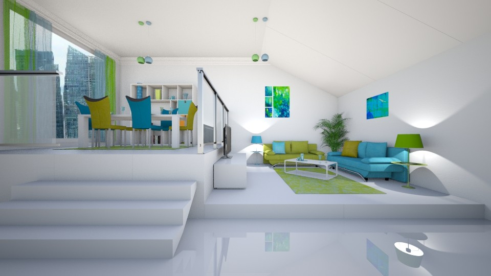 Blue Green - Living room - by creato
