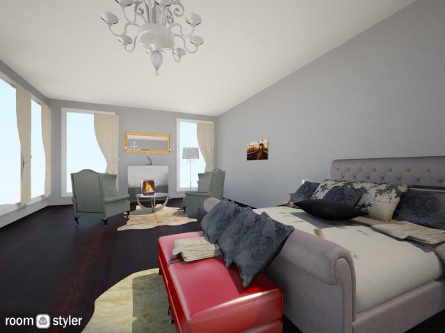Red Accent Bedroom - Bedroom - by kirissa