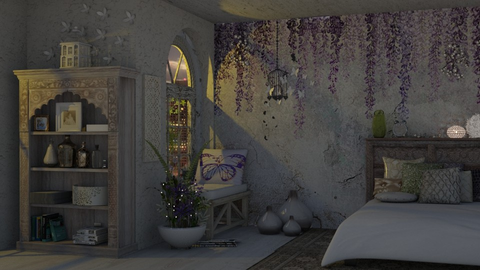 Wisteria in Moonlight - Feminine - Bedroom - by starsector