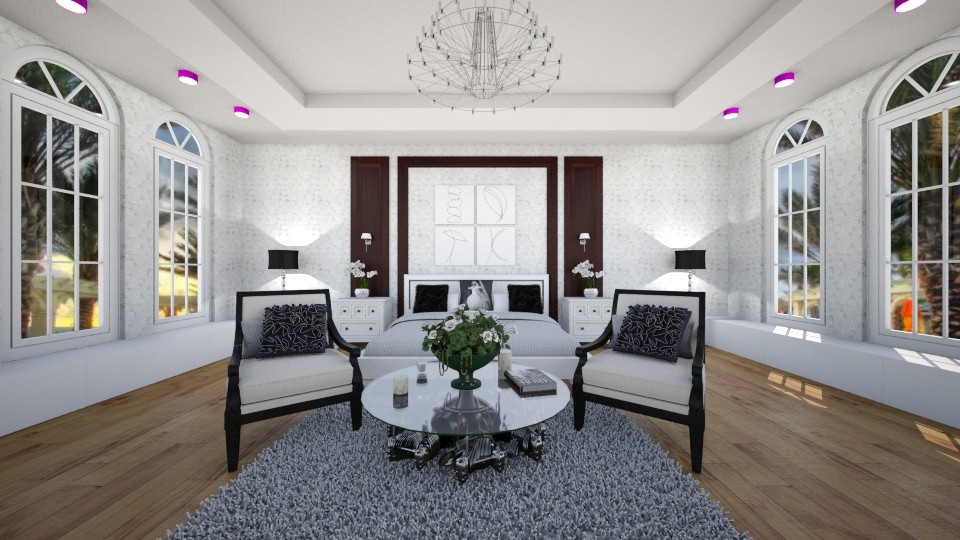 White and grey bedroom - Bedroom - by Liza S