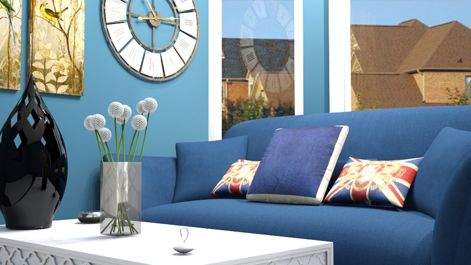 Navy and white glory LV - Retro - Living room - by AURORA SCOTT ALLEN