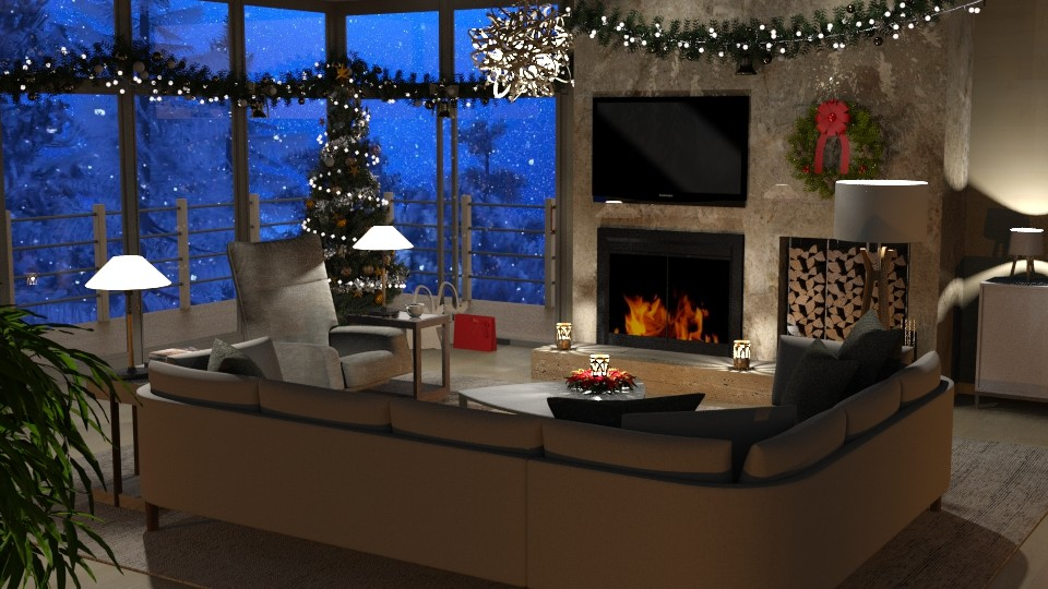 Mountain Christmas - Living room - by GraceKathryn