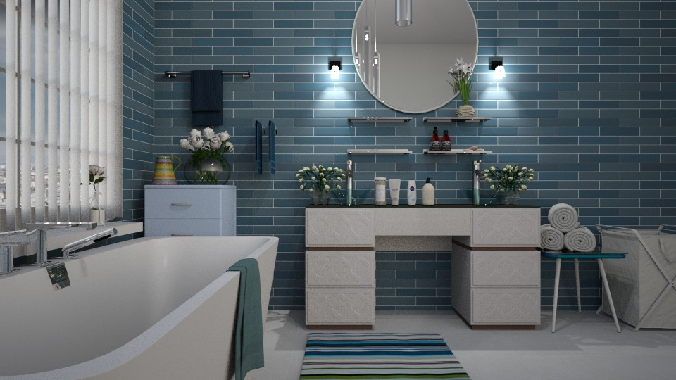 Blue_Wave - Bathroom - by ZuzanaDesign