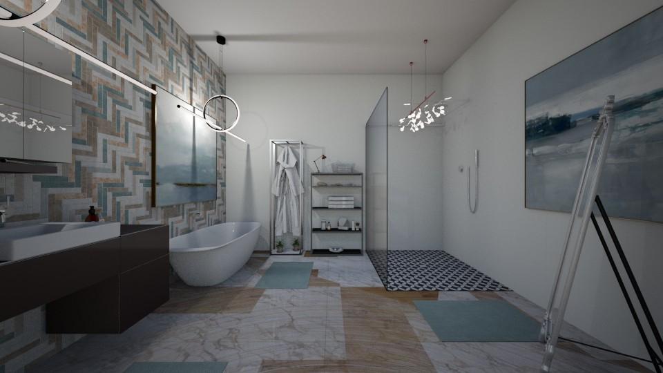 blue - Bathroom - by emmakatherinee