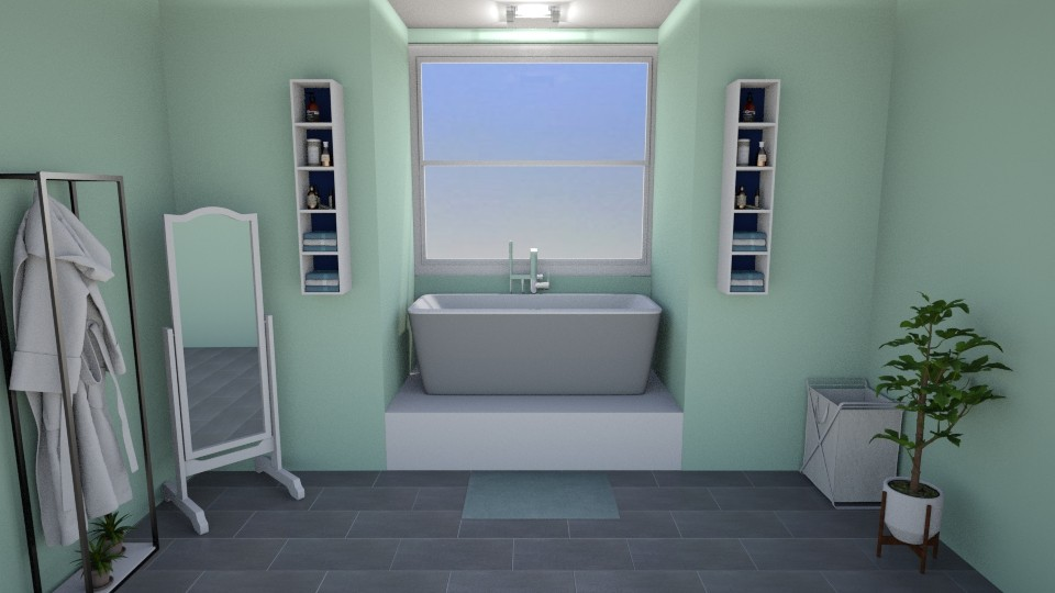 Blue Green Bathroom - Bathroom - by Abigail Enloe