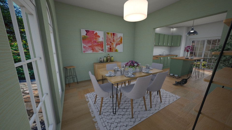 Green Dining Room_Kitchen - Rustic - Dining room - by pfeilswdm