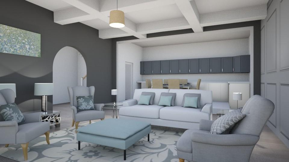 Grey White Duck Egg - Feminine - Living room - by Roelanie