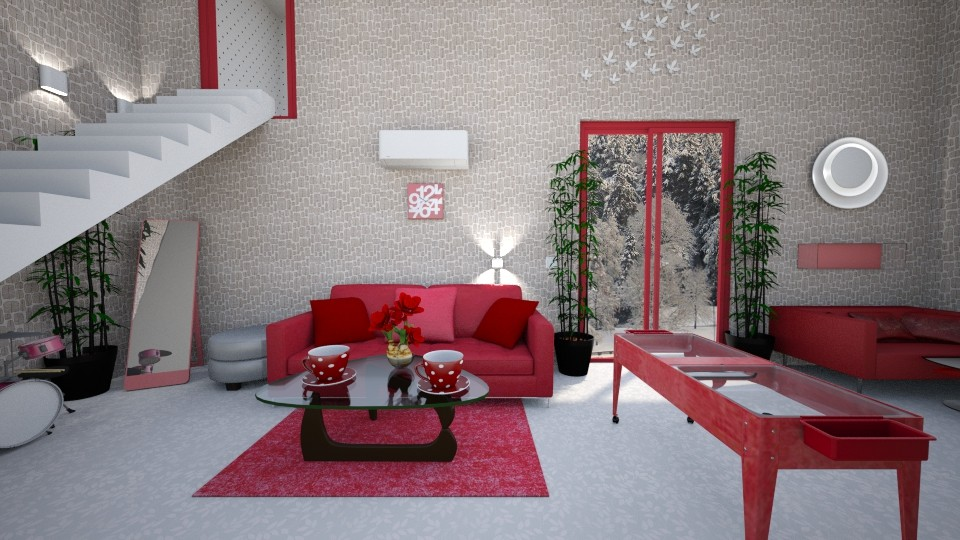 red down stairs - Modern - Living room - by zayneb_17