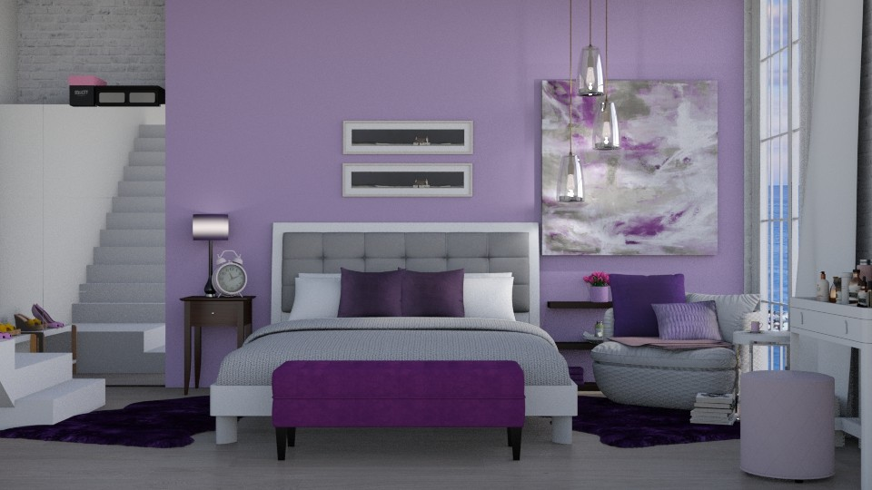 Purple Room - Bedroom - by Ebru Tekneci