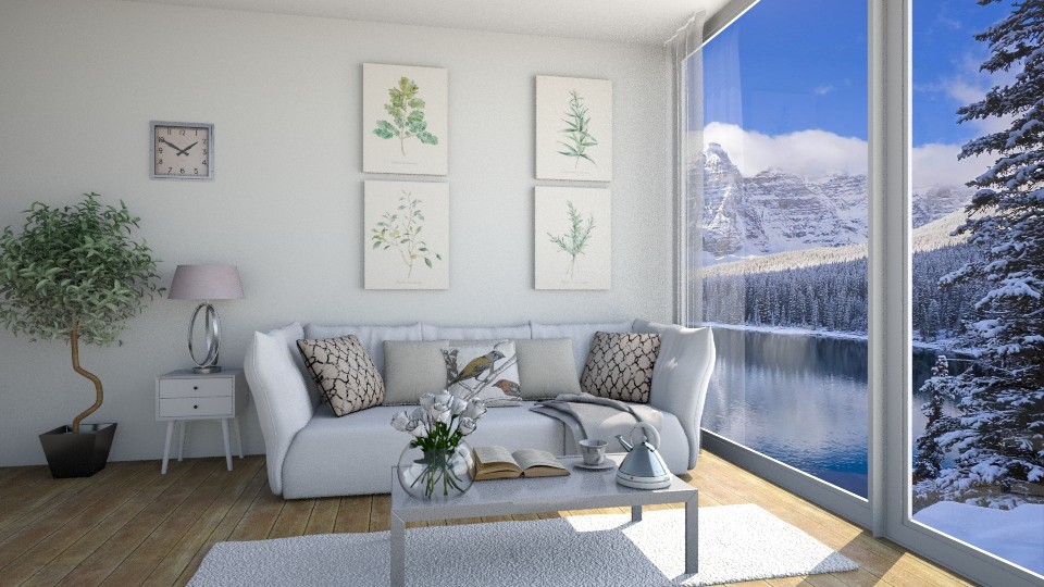 Winter day in cottage - Living room - by Tinkagolianova